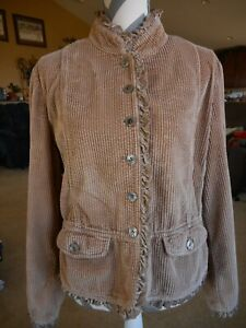 J.Jill Jacket Blazer Cordoroy Look Lace 100% Cotton Womens Beige Brown Stained
