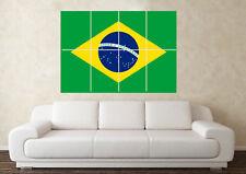Le Brésil drapeau Wall Art Poster coupe du monde FIFA 2018 Anniversaire Pères Jour Football