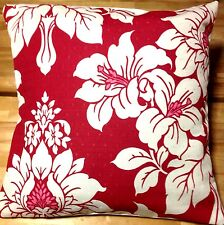 Bright bold Laura Ashley Anya red Cranberrry Cotton cushion covers  16'' 40cm BN