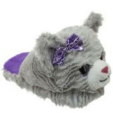 Dan Dee Toddler Girl's Kitty Cat Soft Fur Slippers Shoes Gray SZ Small 11-12 New