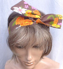 VINTAGE 70s FLORAL COTTON HANDMADE BENDY HAIR WRAP WIRED SCARF HEADBAND E226