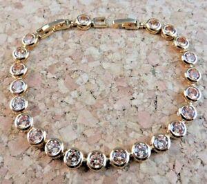 New 22 ctw Peach Citrine CZ Bezel Tennis Bracelet 18k Yellow Gold Filled #636