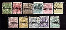 RHODESIA  1909  ARMS OVPTS  PART SET 11   FU    SG 100/12