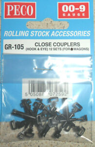 New Peco GR-105 Close Couplers Hook and eye 12 sets for wagons