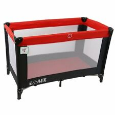 iSafe Rest & Play Luxury Travel Cot/Playpen - Black/Red 120 cm x 60 cm