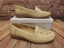 Ladies Cushion Cream Slip On Low Heel Loafer Style Shoes Size UK 9 EU 42