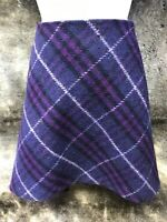Burberry London Purple Plaid Zippered Skirt US 10 (Medium) Wool Blend