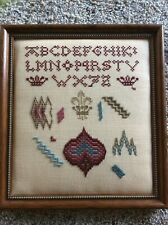 Vintage Framed Linen Abcs, Crowns and Miscellany Sampler 9 x 10�