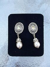 Swarovski Crystal Clip On Earrings, New Heidi Daus Simulated Dove Grey Pearl And