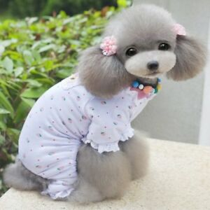 Pet Clothes Small Toy Dog Pajama Jumpsuit Strawberry Sleepwear Soft Cotton