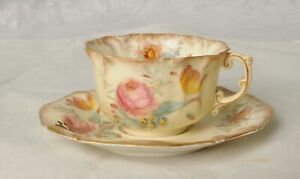 1x Vintage Bone China Floral Pattern Tea Cup & Saucer