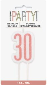 UNIQUE - ROSE GOLD AGE 30 - 30TH BIRTHDAY CANDLE - CAKE CANDLE
