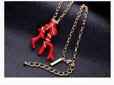 Collar Broche collar Pendandtif Dorado Rama Coral Esmalte Rojo Retro DDZ2