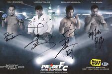 Hidehiko Yoshida Kazuhiro Nakamura Dan Henderson Signed Pride FC Poster BAS COA