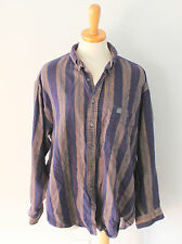 Vtg 80s IZOD stripe flannel shirt Men L lumberjack blue Beige Cotton Grunge F2
