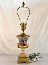 Antique Paris Porcelain Campagna Urn Lamp 19th C Pastoral Scenes France
