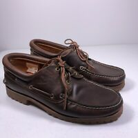 TIMBERLAND 3 Eye Classic Lug  Moc Toe Brown Leather Boat Shoes 30003 Men 11.5