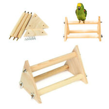 New listing Parrots Bird Perch Stand Play Toy Gym Wooden Activity Table Tops Playstand-`