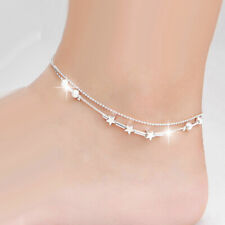 Beads Star Chains Bracelet Anklets Hj04 Women's 925 Silver Anklets 2 Layer Sandy
