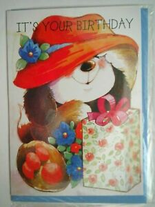 """PUPPY WEARING HAT """"IT'S YOUR BIRTHDAY"""" GREETING CARD + BLUE ENVELOPE"""