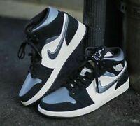 Nike Air Jordan 1 Mid SE - Black / Satin Smoke Grey - Sizes 6-14UK 852542-011