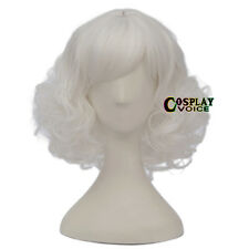 Palace Style Lolita White Curly Girls Women 30cm Short Anime Cosplay Wig+ Cap