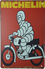 "Michelin Man Motorcycle Scooter Tyres Tire Retro Metal Tin Sign Garage 8x12"" NEW"