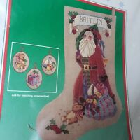 """Dimensions Antique Santa  Stocking Cross Stitch Kit 8375 Linen 16"""" Toys Gifts"""