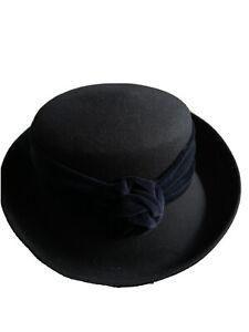 Ladies Navy Blue Smart Hat 100% Wool Church Weddings Races Vintage