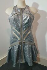 Genuine Three Floor Dress Sequin Silver Grey Peplum Nude Gold size 8 4 XS