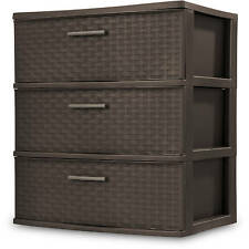 Sterilite 3-Drawer Wide Weave Multi-Purpose Storage Cabinet Tower, Espresso