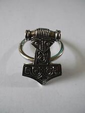 Thor's Hammer Emblem Made From Fine English Pewter on Scarf Ring w47