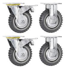 4x Heavy Duty 6 Inch Swivel Caster Fixed Wheel With Brake Set 2000lb Capacity