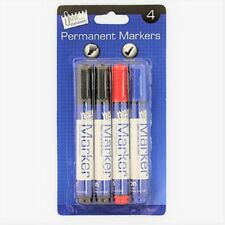 Permanent Markers School Office Work Stationery Desk Black Chisel Tip Assorted