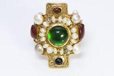 CHANEL 1970's Maison Gripoix Glass Byzantine Style Pearl Cross Cuff Bracelet
