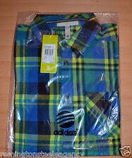 Adidas Hombre Neo ST Camisa a Cuadros Azul/verde (BNWT) size UK Pequeño-PVP € 39.95