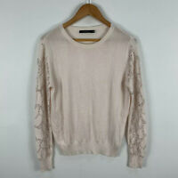 Portmans Womens Knit Top Size Medium Beige Embellished Long Sleeve Round Neck