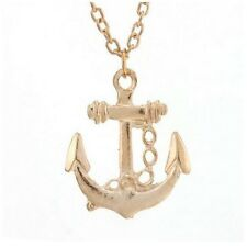 "Gold Tone Anchor Pendant Necklace on 18"" Chain - Free Organza Bag - Nautical"