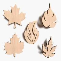 10x Wooden Leaf Shape Leaves Plain Oak Birch Alder Maple Plaque Decoration (V3)