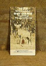 Vintage 1972 Wisconsin Big Game Hunting Regulations Booklet/Pamphlet, Guild