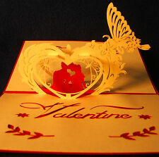 Valentine Anniversary Wedding cards, pop-up sculptures, set of 5 - free shipping