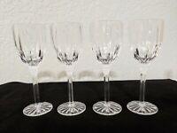 Gorham Sundance Crystal Lot of 4 Vintage Long Stem Wine Glasses Star Cut Foot
