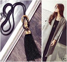 Black gold metal tassel long necklace UK seller