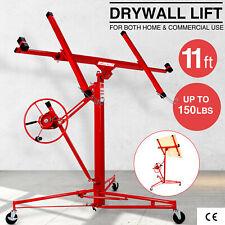 11ft Drywall Lift Panel Hoist Jack Rolling Caster Construction Lockable Red