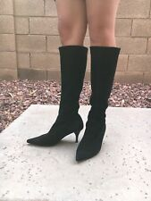 Vintage Gabor Faux Suede Knee High Boots Women's 6.5 US 90s 00s Black Sock Boot