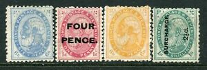 TONGA....  1890s  x4 different   mng