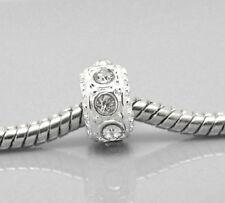 50 European Versilbert Weiß Strass Spacer Perlen Beads 10mmD. B21259