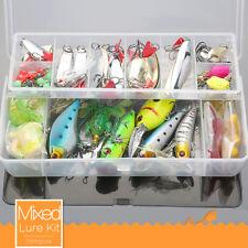 135PCS Fishing Lures Metal Spinnerbait Crankbait Spoon Baits Trout Bass + Box