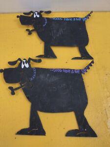 Set Of 2 Metal Doggie Magnet Chalkboard Wall Hanging
