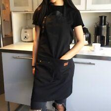 Denim Canvas Pockets Apron Butcher Crafts Baking Chefs Kitchen Cooking BBQ Plain